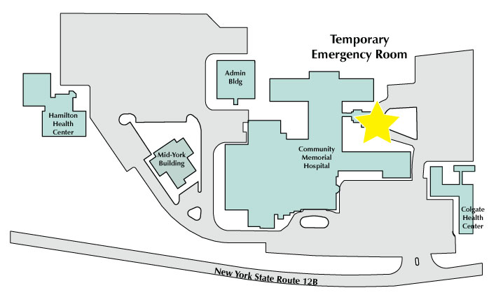 Map showing temporary ED location